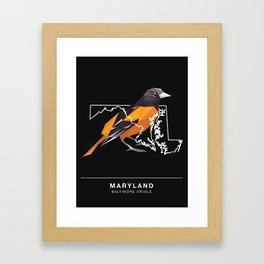 Maryland – Baltimore Oriole (Black) Framed Art Print