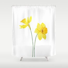two botanical yellow daffodils watercolor Shower Curtain