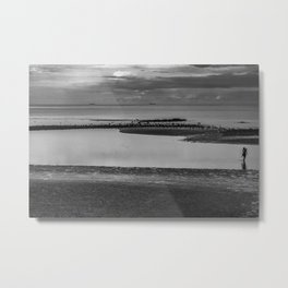 Mother and daughter playing at beach during ebb in the morning Metal Print