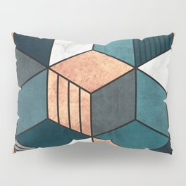 Copper, Marble and Concrete Cubes 2 with Blue Pillow Sham