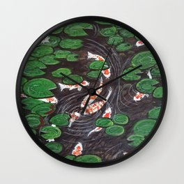 Koi Pond and Water Garden  Wall Clock