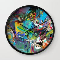 archan nair Wall Clocks featuring Microcrystalline Tendrils by Archan Nair
