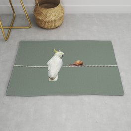 Cockatoo with Snail on Rope Rug