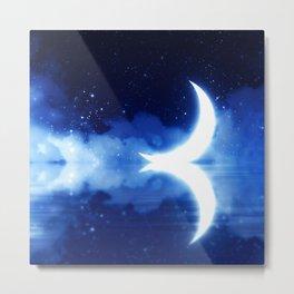 Crescent Moon over blue Starry Sky Metal Print