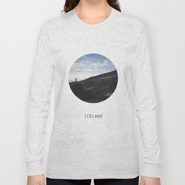 Iceland Landscape | Graphic Design | Picture in Circle Long Sleeve T-shirt