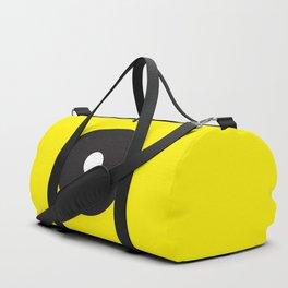 White dot on black on yellow Duffle Bag