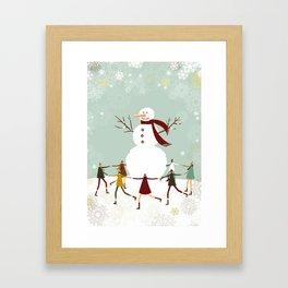 Snowman and children Framed Art Print