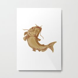 Catfish Mud Cat Going Up Drawing Metal Print