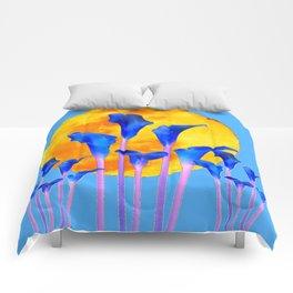 GOLDEN FULL MOON BLUE CALLA LILIES BLUE ART Comforters