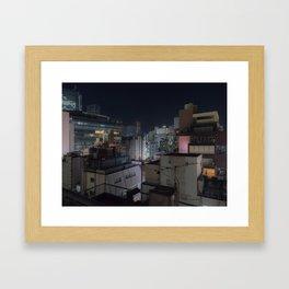 City urban downtown night Framed Art Print