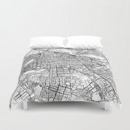 Amsterdam White Map Duvet Cover