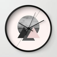 triangles Wall Clocks featuring Triangles by Marg