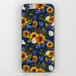 Modern yellow orange blue watercolor sunflower floral pattern iPhone Skin