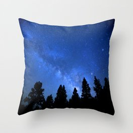 Milky Way (Black Trees Blue Space) Throw Pillow