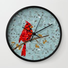Red Cardinal Collage Wall Clock