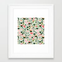 sushi Framed Art Prints featuring Sushi Love by Kristin Nohe Juchs