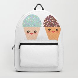 Ice cream waffle cone Kawaii funny muzzle with pink cheeks and winking eyes, pastel colors Backpack