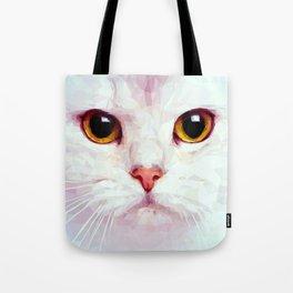Geometric White Cat Tote Bag