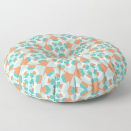 Simple geometric boat helm in mint and orange Floor Pillow