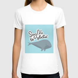Say no to plastic. Whale, sea, ocean.  Pollution problem concept Eco, ecology banner poster. T-shirt