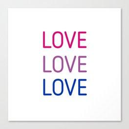 LOVE LOVE LOVE - Bisexual pride flag colors Canvas Print
