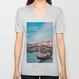 Venice Bridge of Sighs with gondola Italian photography Unisex V-Neck