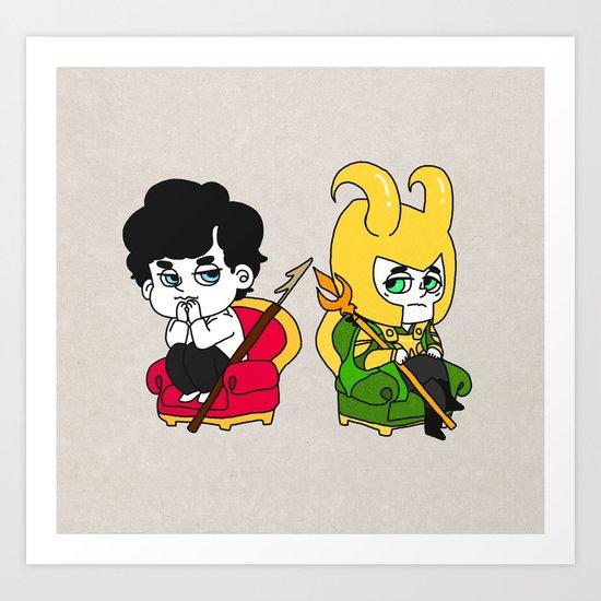 Sherlock and loki Art Print