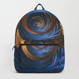Royal Blue Sapphires and Shining Gold Fractal Bangles Backpack