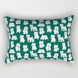 Westies on Green Rectangular Pillow