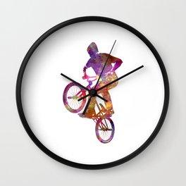 Man bmx acrobatic figure in watercolor Wall Clock