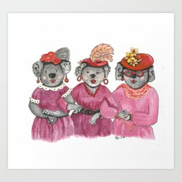 Red Hat Ladies off to Lunch Art Print