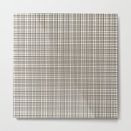Fine Weave Mid-Century Modern Woven Pattern in Charcoal Gray and Almond Cream Metal Print