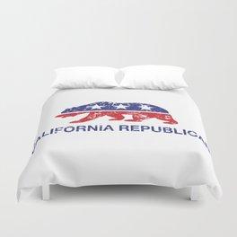 California Political Republican Bear Distressed Duvet Cover