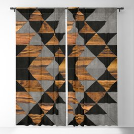 Urban Tribal Pattern No.10 - Aztec - Concrete and Wood Blackout Curtain