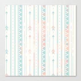 Geometrical blush blue coral pink bohemian arrows Canvas Print