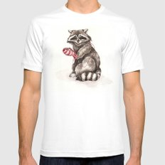 Pensive Raccoon in Red Mittens. Winter Season. Mens Fitted Tee SMALL White