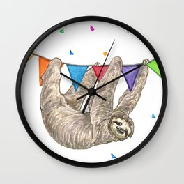Sloth with Bunting #1 Wall Clock