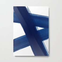 Indigo Abstract Brush Strokes | No. 4 Metal Print