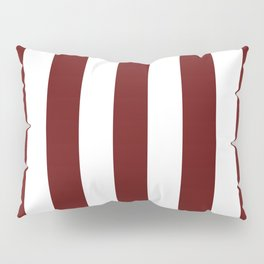 Blood (organ) red - solid color - white vertical lines pattern Pillow Sham