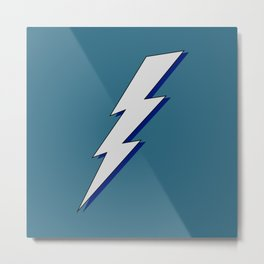 Just Me and My Shadow Lightning Bolt - Teal Blue-Green Background Metal Print