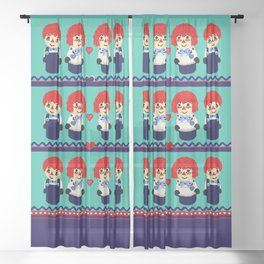 Little Wooden Raggedy People Sheer Curtain