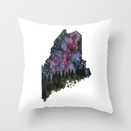 Starry Sky Maine Watercolor Throw Pillow