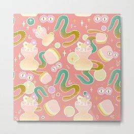 Sneaky Snake Abstract Pattern Pink Version  Metal Print