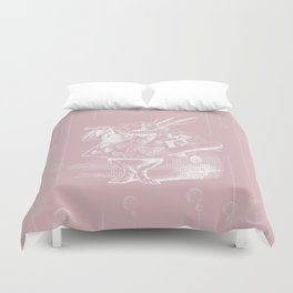White Rabbit and Clocks Duvet Cover