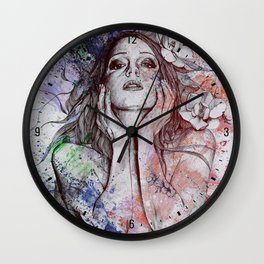 The Withering Spring: Wine (nude tattooed girl with flowers) Wall Clock