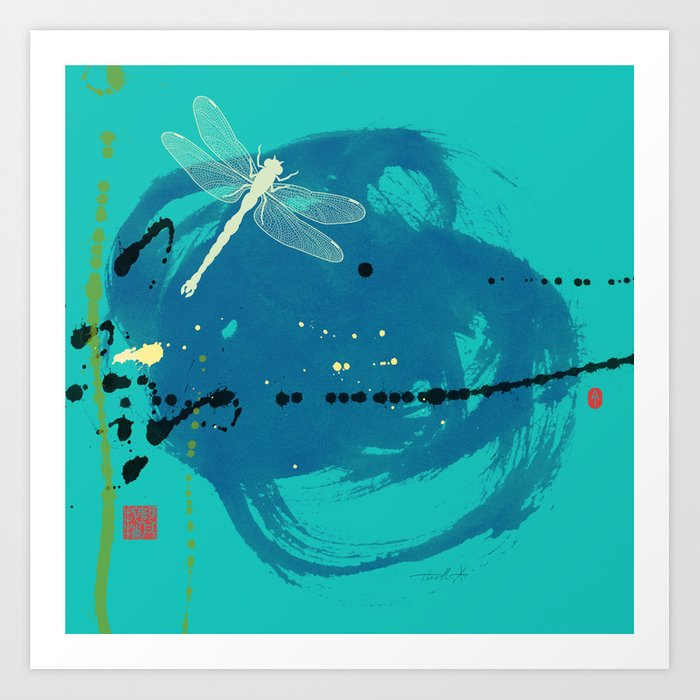Turquoise Dragonfly Art Print