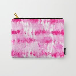 Boho bright hippie neon pink tie dye stripes pattern hand painted watercolor Carry-All Pouch