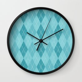 Textured Argyle in Blues Wall Clock