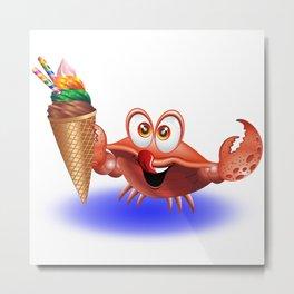 Crab Cartoon with Ice Cream Metal Print