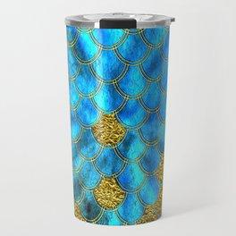 Blue Aqua Turquoise And Gold Glitter Mermaid Scales -Beautiful Mermaidscales Pattern Travel Mug